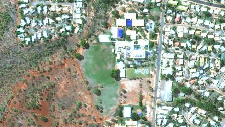 Satellite flyover image of GDAY featured on Katherine High School oval, Katherine, NT. Credit: Maxar Satellite.